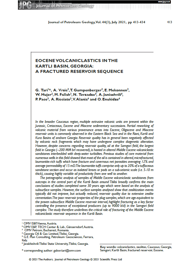 GEPlan publication in the Journal of Petroleum Geology